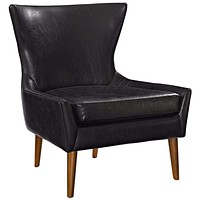 Keen Upholstered Vinyl Armchair, Black