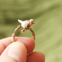 Fashion Gold Bird Pearl Animal Wrap Ring