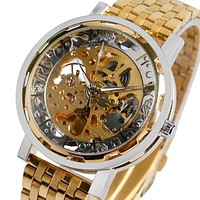 Luxury Gold Link Stainless Steel Wrist Watch Men Skeleton Analog Mechanical Automatic Watches Men Business Clock