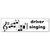 musical notes, driver singing bumper stickers from Zazzle.com