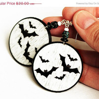 Halloween jewelry black bats Earrings  Round Dangle size 4cm Ø, gift for her under 25