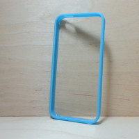 iPhone 5 / 5S Case Silicone Bumper and Clear Hard Plastic Back - Light Blue