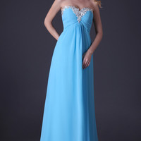 Blue Off-Shoulder Beaded Fringed Chiffon Long Gown