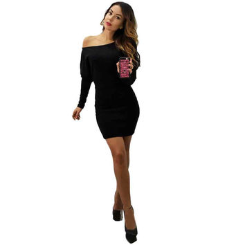 High Quality Elegant Vintage Womens Dress Sexy Long Bat Sleeve Bodycon Casual Pullover Mini Dress