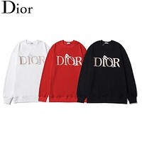 Dior autumn and winter new jacket 3D three-dimensional bump fold leather design LOGO round neck sweater