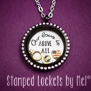 Our love is ABOVE ALL - Hand Stamped Stainless Steel Locket - Air Force Wife Necklace - Floating Memory Jewelry - Zoomie's Girlfriend