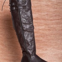 CA Collection by Carrini Tying For A Chance Tall Faux Leather Lace Back Riding Boots 18-067 - Brown