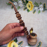 Wood pipe Wooden pipe Smoking pipe Hand carved by HappyFlying