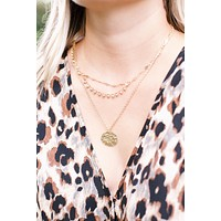 Layered Coin Necklace, Gold