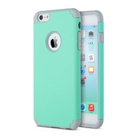 iPhone 6 Plus Case, iPhone 6S Plus Case (5.5 inch), ULAK Case for Apple iPhone 6 Plus (2014) / 6S Plus(2015) 5.5 inch 2-Piece Style Hybrid Hard Cover,(Turquoise/Grey)