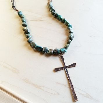 African Turquoise Necklace with Large Copper Cross Necklace