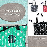 Straight & Arrow  Quilted Shoulder Bag , Travel Duffel, personalized Weekender Bag , Travel Duffle bag