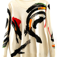 Abstract Print Ribbed Loose Knitwear