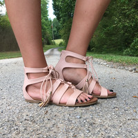 A Walk On The Wild Side Gladiator Sandal: Peach