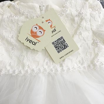 Baby Girl Christening Easter Gown Dress Lace Satin Embroidery Formal Toddler Baby Girl Party Dresses