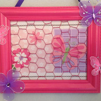 Frame wire Butterfly and flower hair bow jewelry photo organizer holder board pink purple embellished custom orders welcome