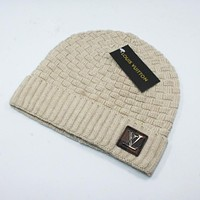 "LV ""Louis Vuitton"" Popular Women Men Knit Hat Warm Cap Khaki"