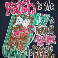 Southern Chics Funny Faith is the Key Cross Sweet Girlie Bright T Shirt