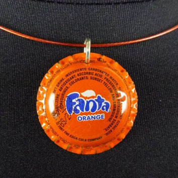Bottle Cap Choker Necklace - Recycled Orange Fanta - Supporting the Deaf in Ghana
