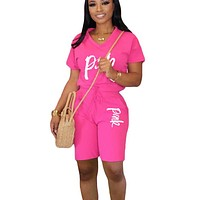 V-neck Pink Letter Print Short Sleeve Tshirts and Knee Length Biker Pant Activewear Sporty Workout Tracksuit Two Piece Club Outfit