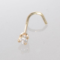 14k Yellow Gold 5pt Genuine Diamond Nose Stud 20g Nose Pin - Curved .05 cttw
