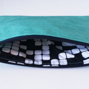 Mint Green With Thin Grey Abstract Lines Lined Zipper Pouch Crossword Interior Fabric 100% Cotton Handbag Clutch
