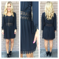 Black Jasmine Embroidered Long Sleeve Dress