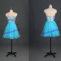 Short blue tulle homecoming dress with sequins,cheap chic prom dresses under 150,cute women gowns for holiday party,latest bridesmaid dress.