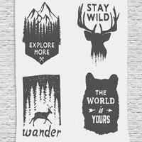 """Hippie Boho Tapestry Home Decor, Wilderness Emblems """"Stay Wild"""" """"Wander"""" """"the World is Your"""" Arrow Pine Image Print, Bedroom Living Room Dorm Wall Hanging Tapestry, Dimgray Platinum"""