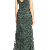 Vera Wang Corded Metallic Lace Fit & Flare Gown | Nordstrom