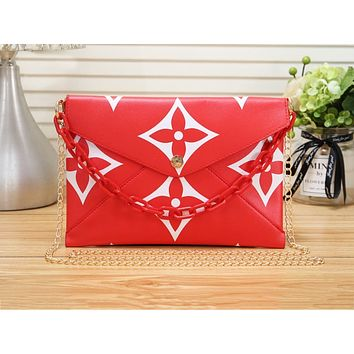 LV women's all-match casual one-shoulder briefcase envelope bag red