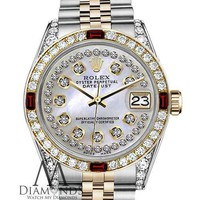 Rolex 36mm Datejust 2 Tone White MOP String Dial with Ruby & Diamond Bezel