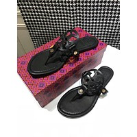 TB Tory Burch new cheap Women Leather Black tb logo print flat sandals Fashion Casual Shoes Best Quality