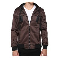 Mens Bomber Jacket with Detachable Hoodie (CLEARANCE)