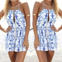 Weixinbuy Womens Backless Sexy Bodycon Shorts Summer Beach Jumpsuit Romper