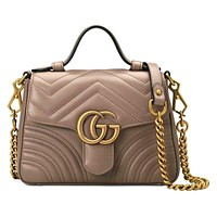 Dior GG sells lady's double G fashion V-type leather mini-handbag 4#