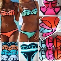 Womens Trendy Triangle Patchwork Padded Swimsuit Bikini