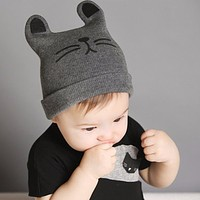 Baby Hats born Cartoon Knitting Cap Toddler Kids Boys Girls Cat Ear Beanie Cap Infant Autumn Winter Warm Hat