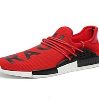bashy fashion Unisex NMD hu,Human Race, Red/Black New Pharrell Williams Tennis Running Sneakers Shoes
