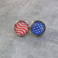 American Flag Earrings, 4th of July, Patriotic Jewelry, USA, United States, Stars and Stripes, Red White Blue, 12mm, Glass