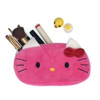 Cartoon Plush Hello Kitty Cosmetic Bag Women Travel Makeup Case Zipper Make Up Bags Storage Pouch Toiletry Kit Wash Beauty Box