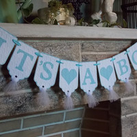 It's A Boy Banner, Baby Shower Banner with Hearts, Embossed with Argyle Pattern in Blue and White Baby Boy Sign, Nursery Decor