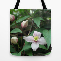 summer pink flower on vine. backyard floral photography. Tote Bag by NatureMatters