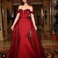 2016 Applique satin Sleeveless High Quality Formal Evening Dress Sexy Red Sweetheart Mermaid Prom Dresses vestido de festa longo