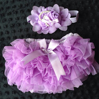 lavendar Ruffled Baby Bloomers and headband set,Headband and Bloomers- Newborn Outfit