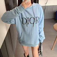DIOR New Hoodie women's letter embroidered loose Pullover