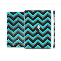 The Turquoise-Black-Gray Chevron Pattern Skin Set for the Apple iPad Mini 4