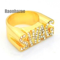 DCCKH7E HIP HOP FASHION ICED OUT SOLID CHUNKY SWAG SWAGGER GOLD PLATED RING N001G