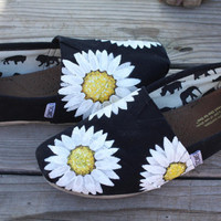 White Flowers Daisies Original Custom Acrylic Painting for Toms/Canvas Shoes