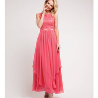 Coral Lace & Chiffon Gown